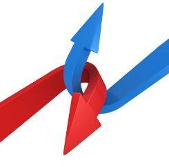 絡み合う2つの矢印